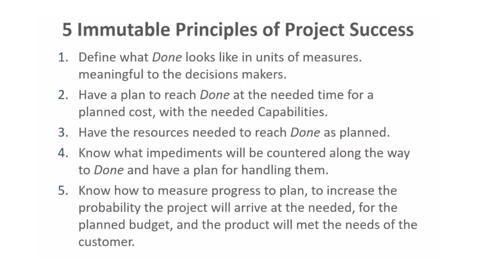 Five Immutable Principles of Project Success