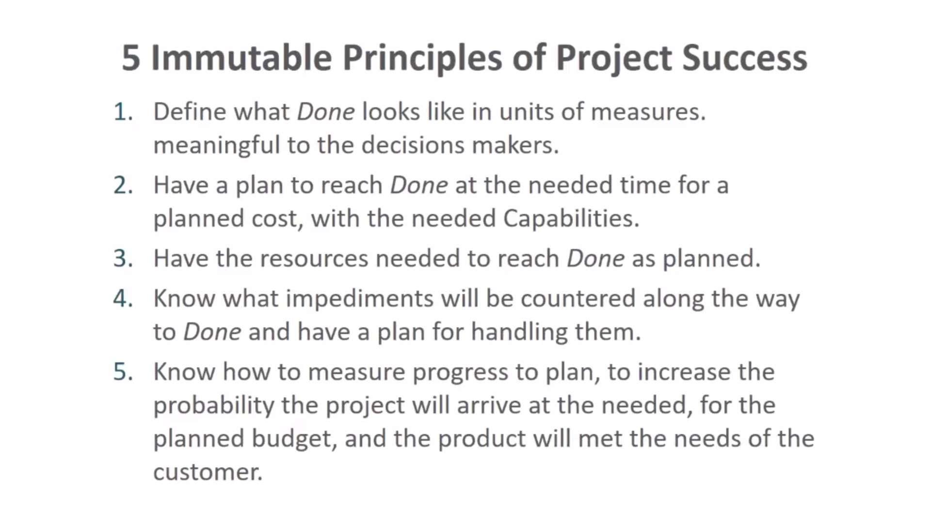 Five Immutable Principles of Project Success